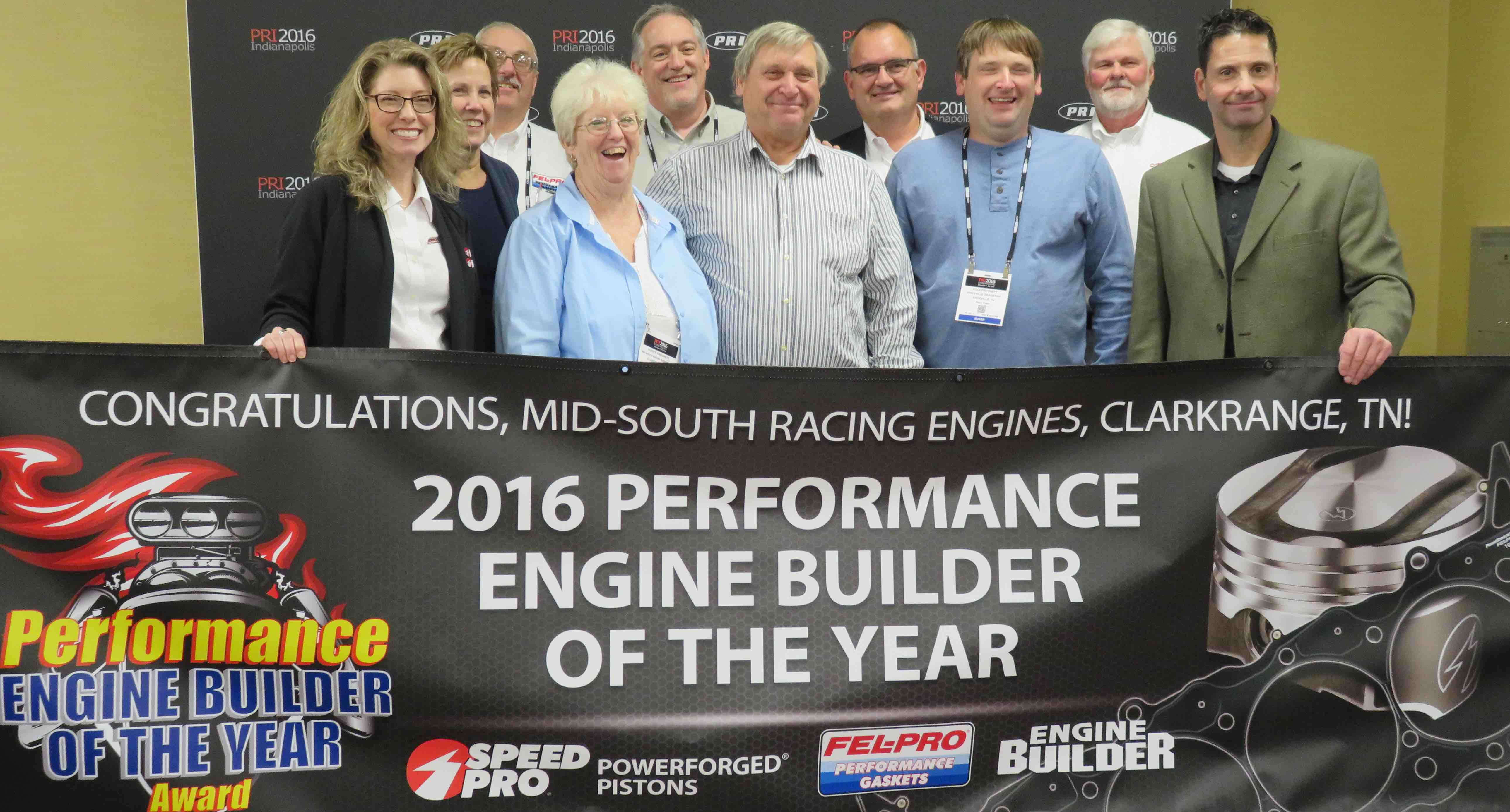 Larry Pritchett (center) is the 2016 High Performance Engine Builder of the Year